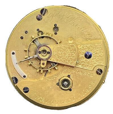 Waltham PS Bartlett Pocket Watch Movement Dial 1877 Mod 18s 11j Key Wind F4004