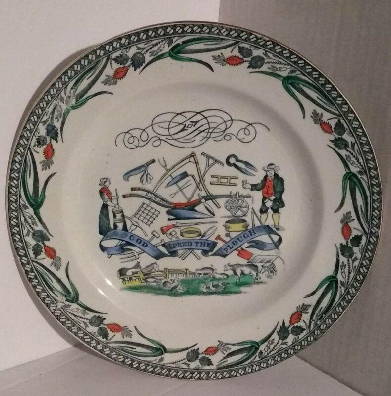 """Vintage Burgess & Leigh Farmers Arms 9"""" Plate England w/ Farmer"""