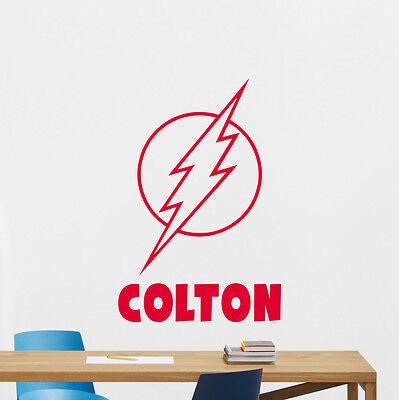 Personalized Flash Wall Decal Custom Name Vinyl Sticker Superhero Poster 175zzz