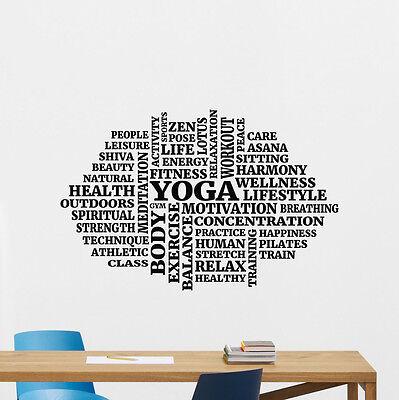 Yoga Words Cloud Wall Decal Fitness Gym Vinyl Sticker Art Decoration Mural 20nnn
