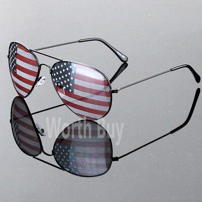 New Patriotic Sunglasses American Flag USA Lens Star Stripe Pilot Shades (American Flag Shades)