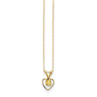 "14K Yellow Gold 3mm Citrine Birthstone Heart Necklace 15"" Madi K Child"