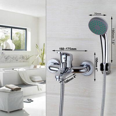 U.S Chrome Brass Bathroom Tub Faucet Wall Mounted Hand Shower Bathtub Mixer Tap Chrome Wall Mounted Bathroom Faucet