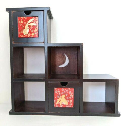 Stair cabinet chest Japanese kaidan dansu rabbit and moon design Japan vintage