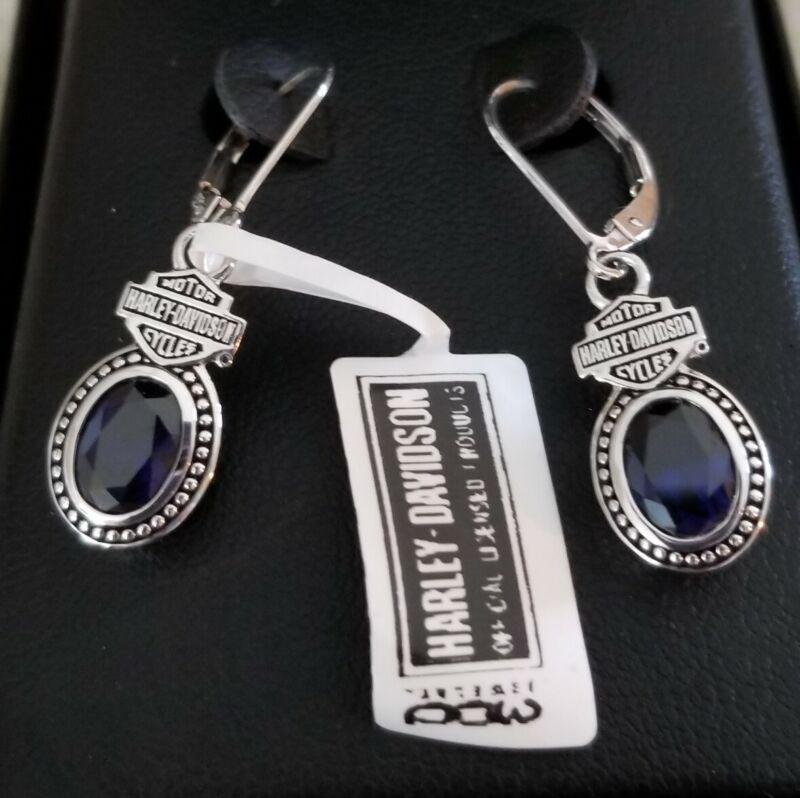 Harley Davidson MOD Silver & Sapphire (Blue) Earrings