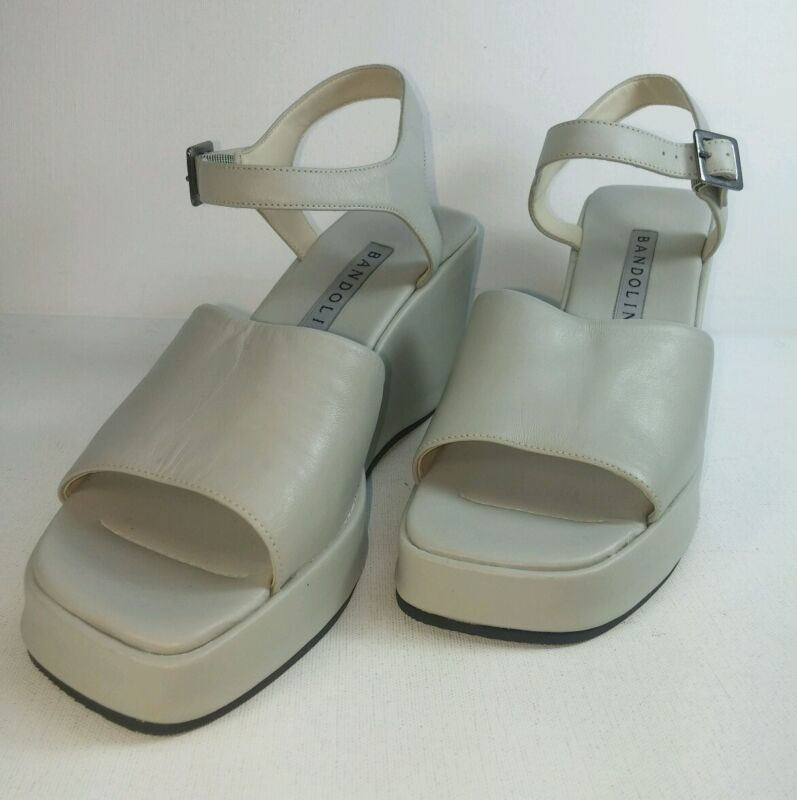 Bandolino Womens Shoes Sz 6.5M Gray Leather High Heel Wedges Ankle Strap Sandals