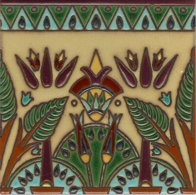 Gorgeous Hand-Painted 6x6 Art Deco Egyptian Inspired Craftsman Tiles.