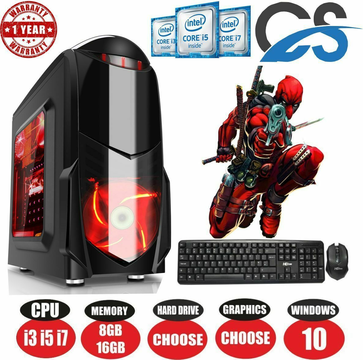 Computer Games - ULTRA FAST i3 i5 i7 Desktop Computer Gaming PC 1TB 16GB RAM GTX 1660 Windows 10