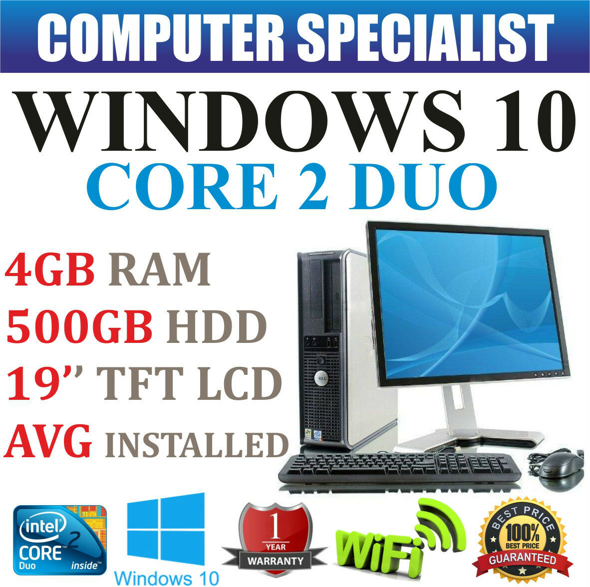 WINDOWS 10 SISTEMA COMPLETO COMPUTER DESKTOP PC CORE 2 DUO 3.00GHz 4GB RAM