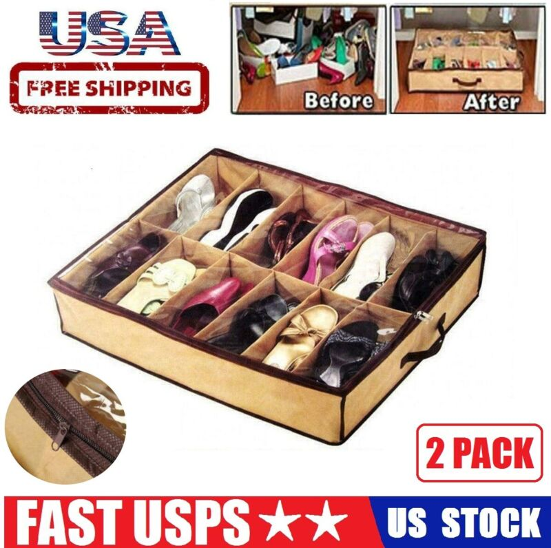 2PCS 12 Pairs Shoes Storage Organizer Container For Under Bed Closet Box Bag USA