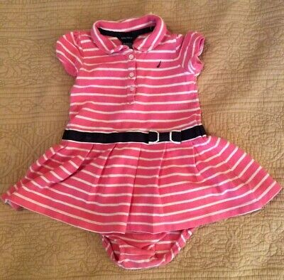 Nautica Baby Girl 18 M Pink/White Stripe SS Dress With Bloomers NWOT