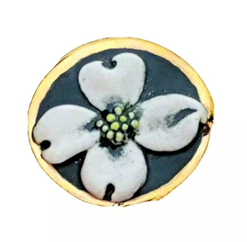 BROOKE ANDREWS  Dogwood Flower Porcelain Pendant Brooch 14kt Gold Fine Jewelry