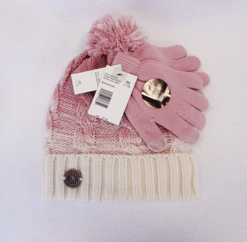 DKNY Girls Beanie with Glove Set Mood/Off White Size 7-16 - New!