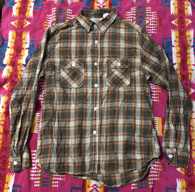 1940s Men's Shirts, Sweaters, Vests 1940's Five Brother Plaid Shirt Reproduction Japan Slim XL Vintage $50.00 AT vintagedancer.com