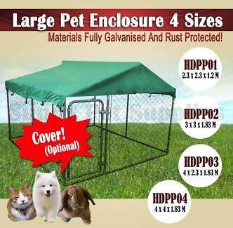 Pet Dog Enclosure Run Kennel Chain Link Mesh Fence Crate Playpen