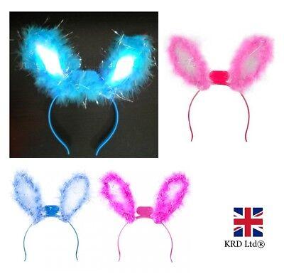 LIGHT-UP BUNNY EARS HEADBAND Flashing LED Fur Hen Party Kids Fancy Dress UK