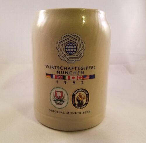 . Vintage 1992 Wirtschaftsgipfel Munchen Original Munich Beer Stein