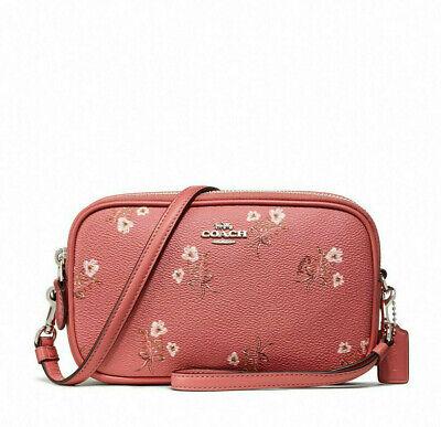 Coach New York 2020 Genuine Sadie Crossbody Clutch Floral Bow Print Coral Pink