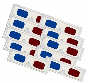 3D-Anaglyph-Glasses-10-PAIR-RED-BLUE-Cardboard-FOLDED-Clear-Reuseable-Sleeves