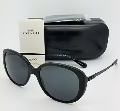 New Coach sunglasses HC8215 548287 57mm Black Round Carriage AUTHENTIC big 8215