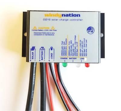 - WindyNation Waterproof 10A 12V 24V Solar Charge Controller w LED Indicators