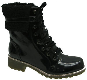 LADIES WOMENS GIRLS FUR TRIM  WINTER ANKLE WORKER COMBAT BOOTS TRAINERS SIZE 3-8