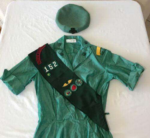 Vintage Girl Scout UNIFORM Dress Sash Hat Patches Costume 152 Pacific Council