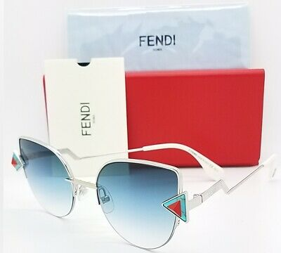 New Fendi sunglasses Cat Eye FF0242/S SCB 52mm Silver Blue Gradient  AUTHENTIC (Fendi Cat Eye Sunglasses)
