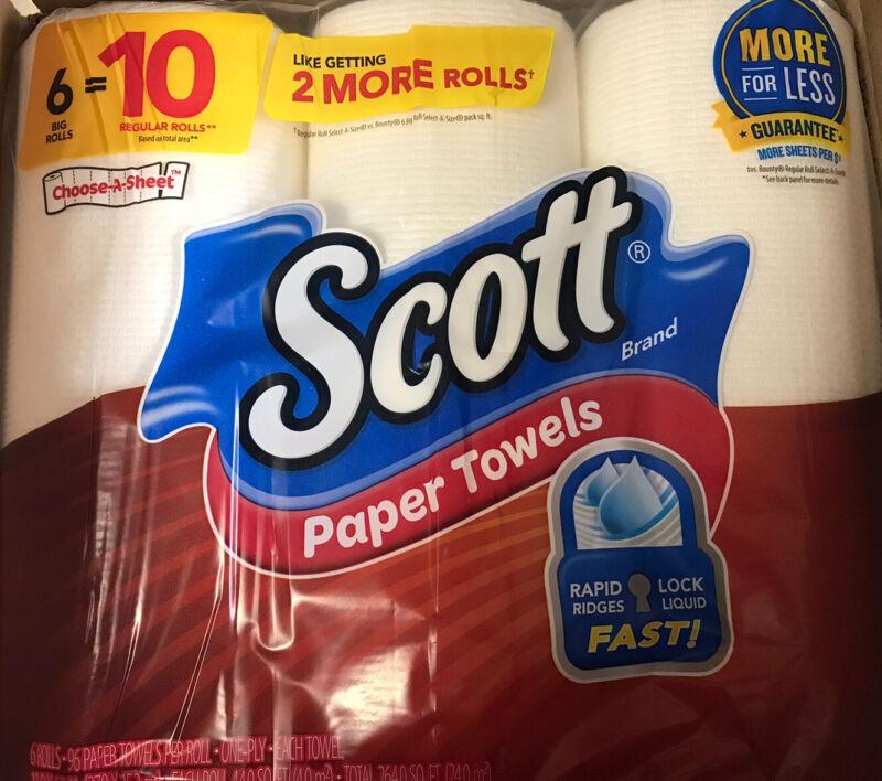 """SCOTT 6-Big Rolls Paper Towels """"Choose-A-Sheet"""" Loc#EBA"""