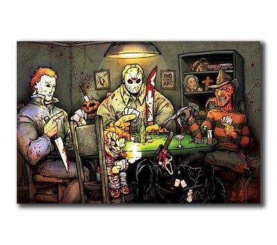 T9 Art Poster Michael Myers vs Jason Voorhees SLASHERS Horror Movie Pop Hot Silk - Michael Myers Vs Jason Voorhees
