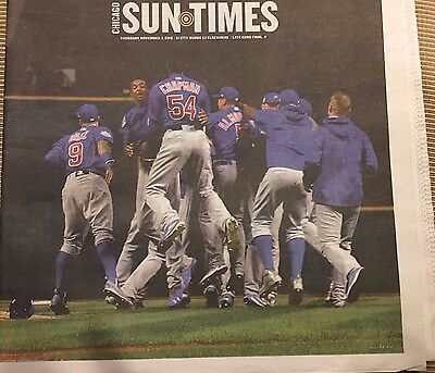 New Chicago Cubs Chicago Sun Times Newspaper World Series 11 3 2016