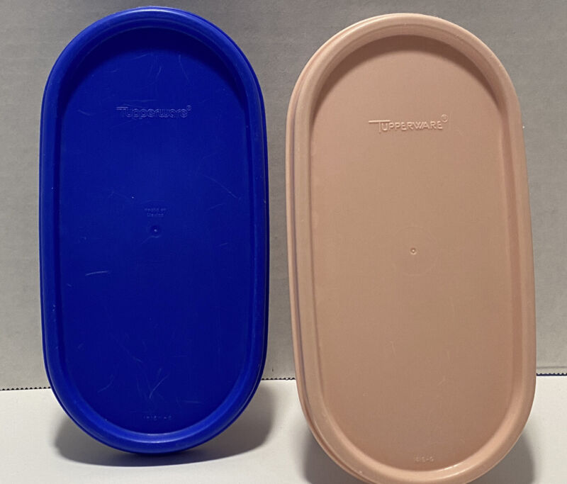 2 Tupperware Modular Mates Oval Containers #1873 & 1611-24 Pink And Blue Seals