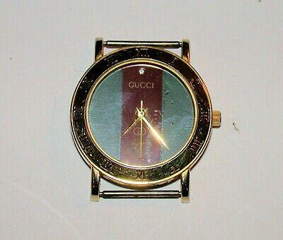 Vintage Gucci Wristwatch 3001L Classic Vertical Strips Gold Tone Quartz