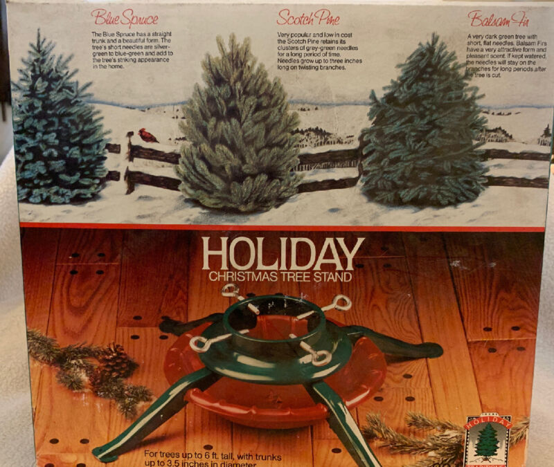 Vintage Holiday Red/Green 4 leg Metal Christmas Tree Stand Box Steel Up To 6'