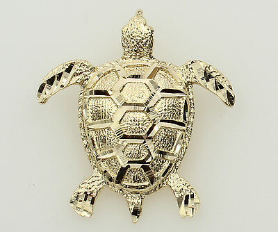 14K Solid Real Yellow Gold Diamond Cut Sea Turtle Charm Pendant
