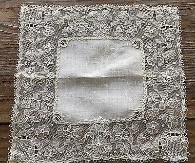 Vintage Irish Linen Carrickmacross Lace Hankie Handkerchief Bride Wedding