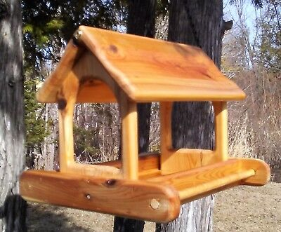 Cute large hanging cedar wood fly through platform Bird/Squirrel feeder,TBNUP #2