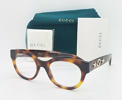 NEW Gucci RX Frame Round Glasses Havana Gold GG0209O 002 48mm AUTHENTIC (Gucci Round Frame Glasses)