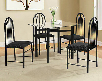 Square Dinette Table - Dinette Set 5 Piece Square Glass Dining Table Four Chairs Small Kitchen Black