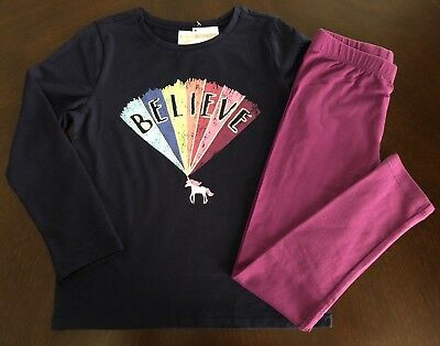 NWT Gymbiree Girl Navy Rainbow Unicorn Tee /Maroon Leggings Outfit 5 6 7 8  ()