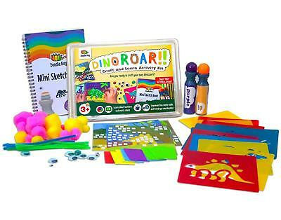 DINOROAR ART & LEARN ACTIVITY KIT For Kids Markers, Mosaic, Sketch Book, Stencil - Bible Crafts For Kids