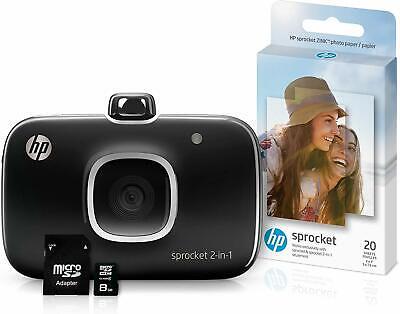 HP Sprocket 2-in-1 Portable Photo Printer & Instant Camera Bundle - Black