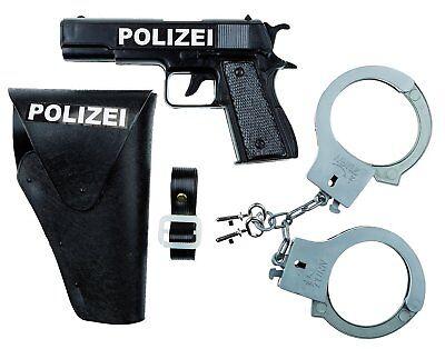 Polizei- Set, 3-teilig: Polizei Pistole, Handschellen, Halfter Karneval Neu