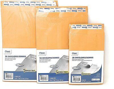 Mead Press Seal Kraft Brown Manila Envelope 6x9 9x12 10x13 Press It Self Seal