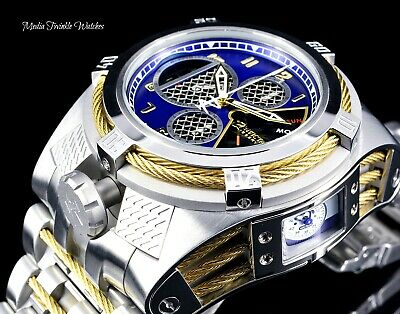 Invicta Reserve 52mm Bolt Zeus TRIA Swiss Quartz BLUE Dial Silver & Gold Watch