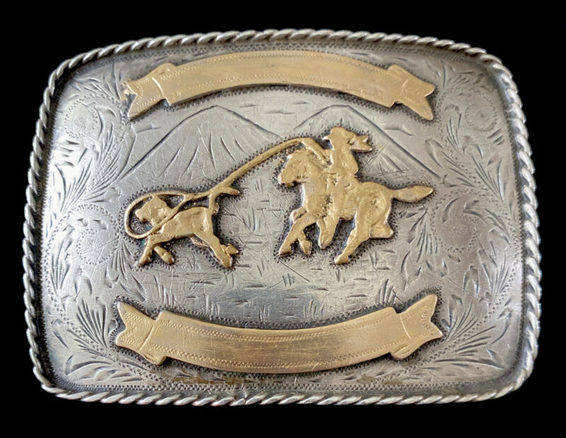 """LARGE HEAVY 86g JALISCO MEXICO STERLING SILVER GILT ACCENTS RODEO BELT BUCKLE 4"""""""