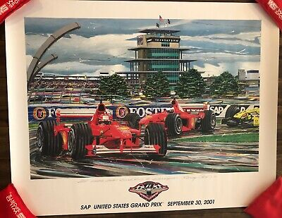 VERY RARE - Randy Owens 2001 USGP Ferrari Poster Formula 1 Grand Prix