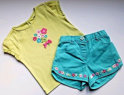 """GYMBOREE """"Flower Garden"""" Collection Adorable Girls 2 Piece Outfit Top Shorts 2T"""
