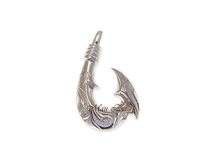 925 Sterling Silver Hawaiian Honu Turtle Scroll Engraved Fish Hook Pendant -