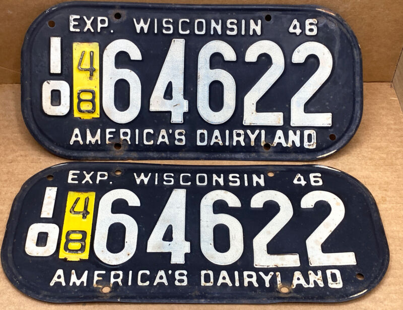 RARE WISCONSIN 1946    With-1948 tag.  10 64622  LICENSE PLATE-VINTAGE-ORIGINAL